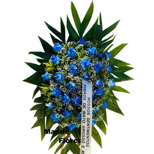 4237 Coroa De Velório Com Rosas Azuis.