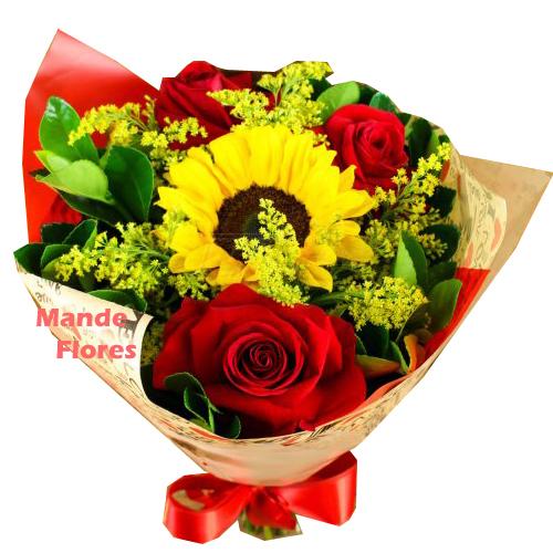4289  Rosas Com Girassol.