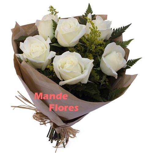 4290 Buquê Com Rosas Brancas.