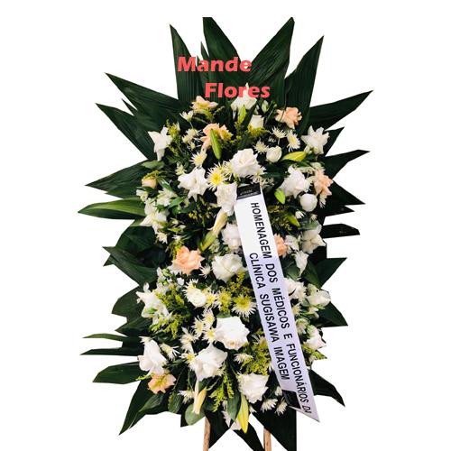 4320 Coroa Pra Velório Com Flores clarinhas.