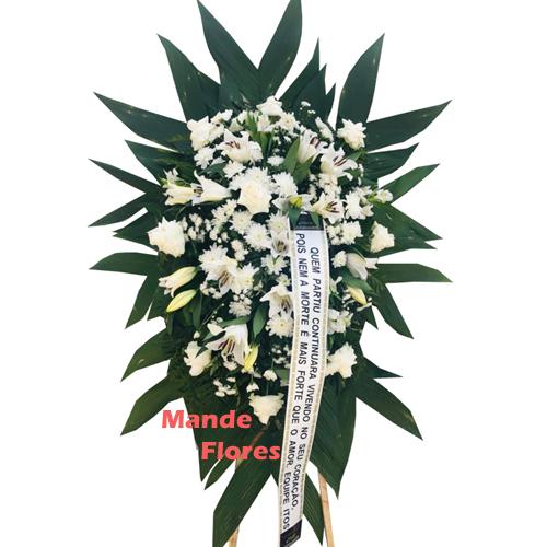4323 Coroa Velório Branca Tradicional.
