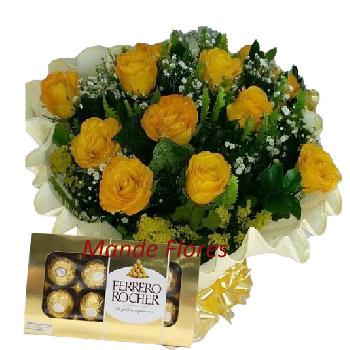 5049 Buque Com Doces Rosas Amarelas