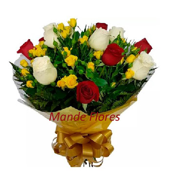 5050 Buque De Rosas Coloridas Chegando.