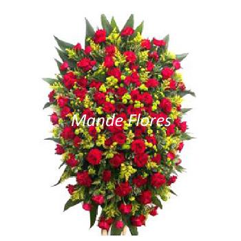 5051 Coroa Pra Velório Com Rosas Vermelhas.