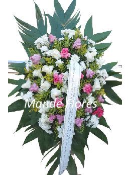 5056 Coroa Fúnebre Flores Rosa.