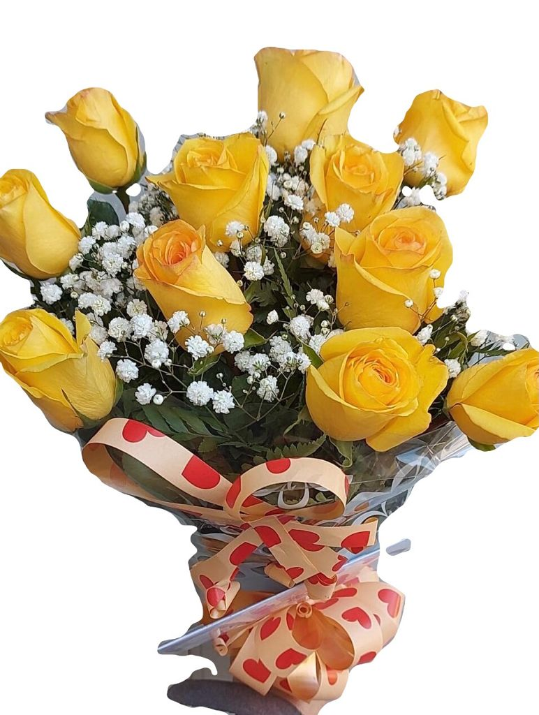 5412 Buquê Com 12 Rosas Amarelas.